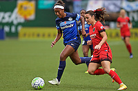 Portland, OR - Saturday July 09, 2016: Brianne Reed, Hayley Raso during a regular season National Women's Soccer League (NWSL) match between the Portland Thorns FC and FC Kansas City at Providence Park.