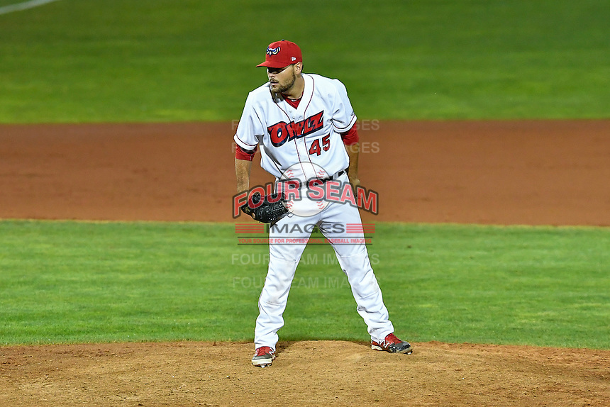 Max Bethell (45) of the Orem Owlz looks for the sign against the Billings Mustangs in Game 2 of the Pioneer League Championship at Home of the Owlz on September 16, 2016 in Orem, Utah. Orem defeated Billings 3-2 and are the 2016 Pioneer League Champions. (Stephen Smith/Four Seam Images)