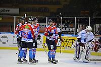 IJSHOCKEY: HEERENVEEN: 14-12-2013, IJsstadion Thialf, UNIS Flyers - Dordrecht Lions, uitslag 10-0, Nick Kuiper (#37 | Flyers), Mark Hoekstra (#52 | Flyers), Sander Dijkstra (#5 | Flyers), Aldo van Aalderen (#11 | Flyers), Kisito Zonneveld (#35 | Dordrecht), ©foto Martin de Jong