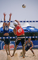 Beach volleyball is a popular sport in Australia. This shot was taken during a championhsip match at Manly in Sydney.