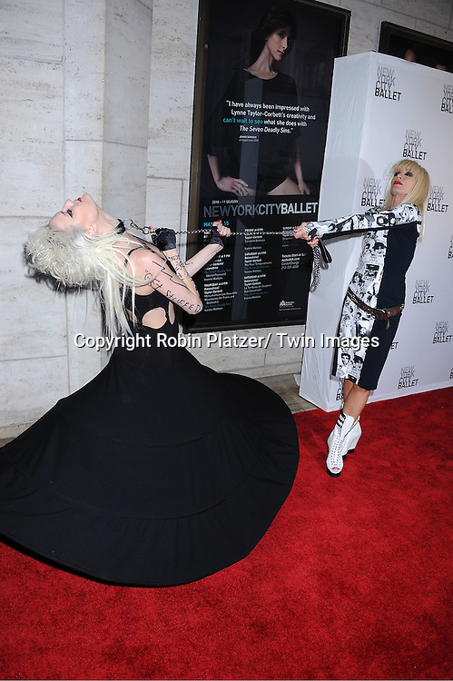 "Betsy Johnson and a model  arriving at The New York City Ballet's 2011 Spring Gala.at The David Koch Theatre at Lincoln on May 11, 2011 in New York City. The world premiere of Brecht/Weill's  ""The Seven Deadly Sins"" was the opening night performance."