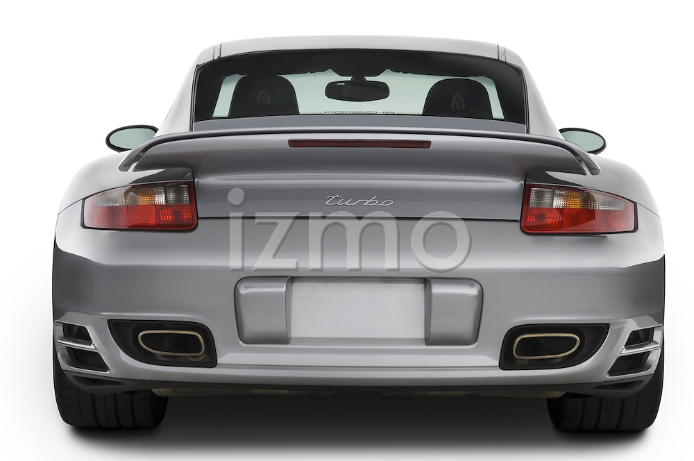 Straight rear view of a 2007 Porsche 911 turbo coupe