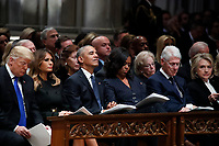 From left, President Donald Trump, first lady Melania Trump, former President Barack Obama, Michelle Obama, former President Bill Clinton and former Secretary of State Hillary Clinton listen during a State Funeral at the National Cathedral, Wednesday, Dec. 5, 2018, in Washington, for former President George H.W. Bush.<br /> CAP/MPI/RS<br /> &copy;RS/MPI/Capital Pictures