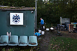 Nelson 3 Daisy Hill 6, 12/10/2019. Victoria Park, North West Counties League, First Division North. The groundsman working at his hut before Nelson hosted Daisy Hill at Victoria Park. Founded in 1881, the home club were members of the Football League from 1921-31 and has played at their current ground, known as Little Wembley, since 1971. The visitors won this fixture 6-3, watched by an attendance of 78. Photo by Colin McPherson.