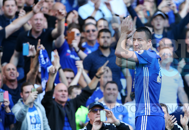 Chelsea's John Terry celebrates with the fans during the Premier League match at Stamford Bridge Stadium, London. Picture date: May 18th, 2017. Pic credit should read: David Klein/Sportimage