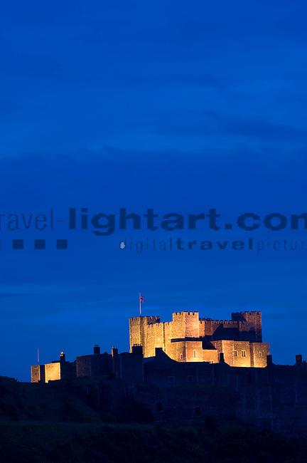 Dover Castle at dusk, Dover, Kent, England, United Kingdom