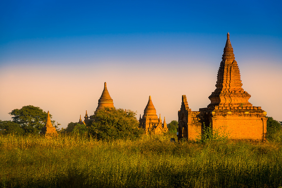 Sunset over the famous temples and pagodas in Bagan in Myanmar