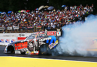 Aug. 2, 2014; Kent, WA, USA; NHRA funny car driver Matt Hagan during qualifying for the Northwest Nationals at Pacific Raceways. Mandatory Credit: Mark J. Rebilas-USA TODAY Sports