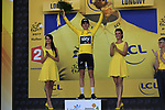 Geraint Thomas (WAL) Team Sky retains the race leaders Yellow Jersey at the end of Stage 3 of the 104th edition of the Tour de France 2017, running 212.5km from Verviers, Belgium to Longwy, France. 3rd July 2017.<br /> Picture: Eoin Clarke | Cyclefile<br /> <br /> All photos usage must carry mandatory copyright credit (&copy; Cyclefile | Eoin Clarke)