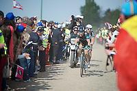 Geraint Thomas (GBR/SKY) & Bert De Backer (BEL/Giant-Shimano) on the Carrefour de l'Arbre<br /> <br /> Paris-Roubaix 2014