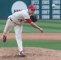 NWA Democrat-Gazette/J.T. WAMPLER Arkansas Kole Ramage pitches against Kent State Sunday March 11, 2018 at Baum Stadium in Fayetteville. Arkansas won 11-4.