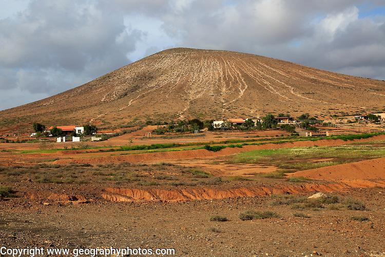 Farm at base of old volcano cone, near Tetir, Fuerteventura, Canary Islands, Spain