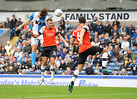 Blackburn Rovers' Sam Gallagher vies for possession with Luton Town's James Bree<br /> <br /> Photographer Kevin Barnes/CameraSport<br /> <br /> The EFL Sky Bet Championship - Blackburn Rovers v Luton Town - Saturday 28th September 2019 - Ewood Park - Blackburn<br /> <br /> World Copyright © 2019 CameraSport. All rights reserved. 43 Linden Ave. Countesthorpe. Leicester. England. LE8 5PG - Tel: +44 (0) 116 277 4147 - admin@camerasport.com - www.camerasport.com