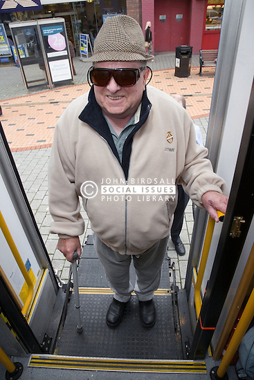 Man using platform lift to access mobile resource unit,