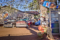 Antique automobiles and route 66 memorabilia located behind the world famous Snow Cap Drive in, located in Seligman Arizona on Historic Route 66.  Juan Delgadillo opened the drive in in 1953 after building it with scrap lumber.