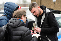 Lincoln City's Grant Smith signs autographs for fans after arriving at the ground<br /> <br /> Photographer Chris Vaughan/CameraSport<br /> <br /> The EFL Sky Bet League Two - Lincoln City v Grimsby Town - Saturday 19 January 2019 - Sincil Bank - Lincoln<br /> <br /> World Copyright © 2019 CameraSport. All rights reserved. 43 Linden Ave. Countesthorpe. Leicester. England. LE8 5PG - Tel: +44 (0) 116 277 4147 - admin@camerasport.com - www.camerasport.com