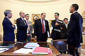 Washington, DC - June 3, 2009 -- United States President Barack Obama has a briefing in the Oval Office prior to health care meeting with Senate democrats, June 2, 2009. With the President are (from left; White House Chief of Staff Rahm Emanuel, Assistant to the President for Legislative Affairs Phil Schiliro, Shawn Maher, Deputy Assistant to the President, Senior Advisor David Axelrod, Director of the Office of Management and Budget Peter Orszag, and David M. Simas,  Aide to Senior Advisor David Axelrod..Mandatory Credit: Pete Souza - White House via CNP