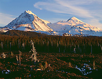 ORCAC_045 - USA, Oregon, Three Sisters Wilderness, Evening light on North (left) and Middle Sister (right) with autumn snow above conifers and lava flow, near McKenzie Pass.