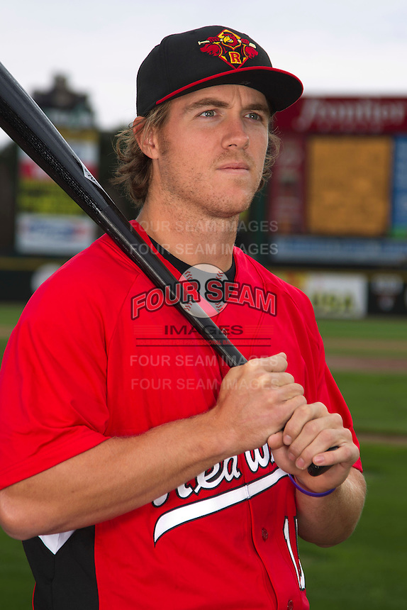 Rochester Red Wings outfielder Joe Benson #15 poses for a photo during media day at Frontier Field on April 3, 2012 in Rochester, New York.  (Mike Janes/Four Seam Images)