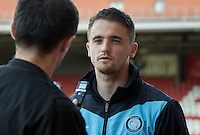 Stephen McGinn of Wycombe Wanderers during a post match interview during the Sky Bet League 2 match between Leyton Orient and Wycombe Wanderers at the Matchroom Stadium, London, England on 19 September 2015. Photo by Andy Rowland.
