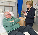 Nicola Sturgeon MSP, Deputy First Minister and Cabinet Secretary for Health, Wellbeing and Cities Strategy, meets patient George Woods from Larbert during a visit of Forth Valley Royal Hospital's Acute Assessment Unit.