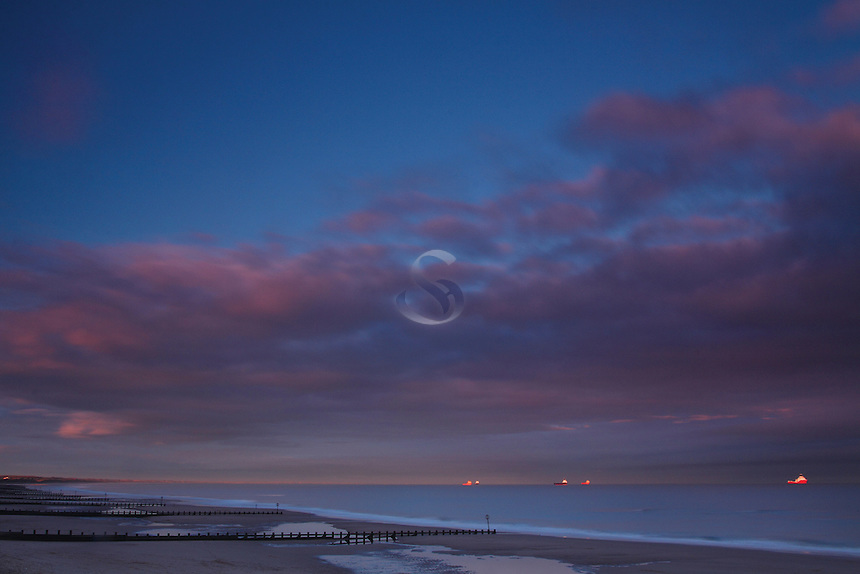 The North Sea from Aberdeen Beach at dusk, Aberdeenshire<br /> <br /> Copyright www.scottishhorizons.co.uk/Keith Fergus 2011 All Rights Reserved