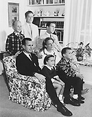 Houston, Texas - Undated file photo -- The George H.W. Bush Family, Houston, Texas, circa 1964.  George W. Bush is at center with his arm around his mother, Barbara.  Also pictured are Bush children John (Jeb), Neil, Marvin, and Dorothy..Credit: White House via CNP