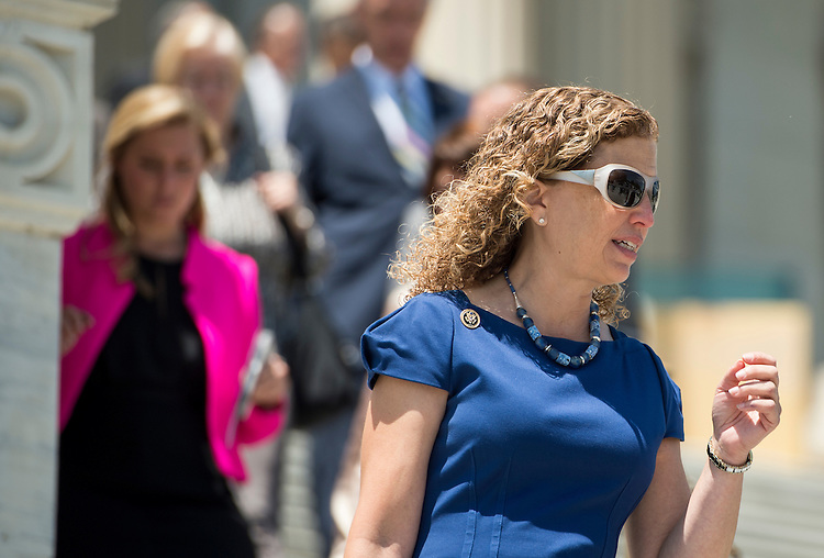 UNITED STATES - JULY 16: Rep. Debbie Wasserman Schultz, D-Fla., walks down the House steps following the final vote of the week on Thursday, July 16, 2015. (Photo By Bill Clark/CQ Roll Call)