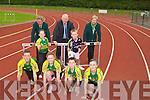"ATHLETICS: launching the Denny's Kerry Community Games Athletics Finals sponsored by Kerry Group ""DENNYS"" on Monday at Riocht Athletic Club, Castleisland, Padraig O'Connell Megan Moriarty, Mairead Nic Gearailt, Eamon Nolan, David Shanahan and Aoibhi?n O Connor. Back l-r: Jimmy Turner (chairman of Kerry Community Games), Frank Hayes (Kerry Group) and Margaret Culloty (sectreary Kerry Community Games)....................................... ...."