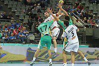 18.01.2013 Barcelona, Spain. IHF men's world championship, prelimanary round. Picture show Marko Simovic    in action during game between Montenegro vs Brazil at Palau St Jordi