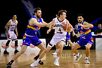 Saints' Nick Kay and Rams' Emmett Naar in action during the NBL- Cigna Saints v Rams at TSB Arena,  Wellington, New Zealand on Sunday 23 June 2019. <br /> Photo by Masanori Udagawa. <br /> www.photowellington.photoshelter.com