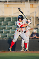 Mitchell Gunsolus (22) of the Greenville Drive at bat against the Kannapolis Intimidators at Kannapolis Intimidators Stadium on August 9, 2017 in Kannapolis, North Carolina.  The Drive defeated the Intimidators 6-1.  (Brian Westerholt/Four Seam Images)
