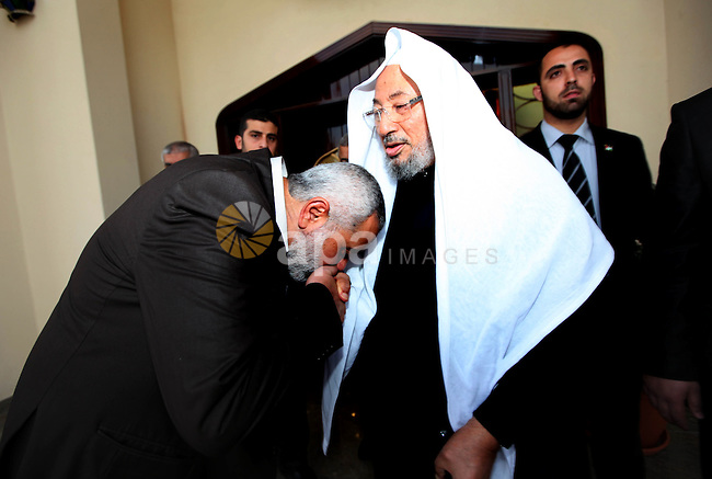 Palestinian Prime Minister in Gaza Strip, Ismail Haniyah, Visit Shaykh ,Yusuf al-Qaradawi, in the Qatari capital of Doha on Feb. 03, 2012. Photo by Mohammed Al-Ostaz