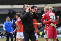 Luton Town manager Nathan Jones celebrates his sides win during the Sky Bet League 2 match between Plymouth Argyle and Luton Town at Home Park, Plymouth, England on 19 March 2016. Photo by Liam Smith.