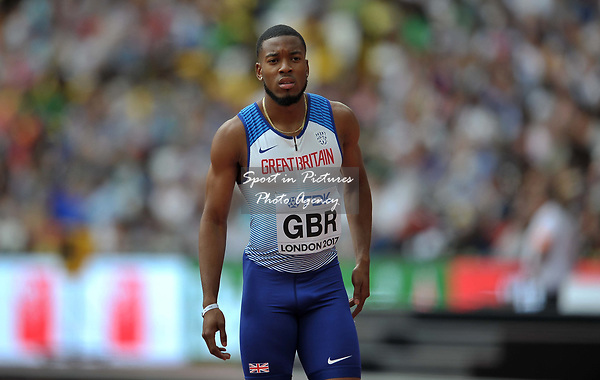 Nathaneel Mitchell-Blake (GBR) in the mens 4 x 100m relay. IAAF world athletics championships. London Olympic stadium. Queen Elizabeth Olympic park. Stratford. London. UK. 12/08/2017. ~ MANDATORY CREDIT Garry Bowden/SIPPA - NO UNAUTHORISED USE - +44 7837 394578