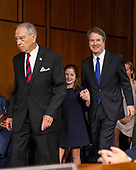 Judge Brett Kavanaugh, right, arrives with his daughter, Liza, center, as he arrives to testify before the United States Senate Judiciary Committee on his nomination as Associate Justice of the US Supreme Court to replace the retiring Justice Anthony Kennedy on Capitol Hill in Washington, DC on Tuesday, September 4, 2018.  At left is the committee chairman, US Senator Chuck Grassley (Republican of Iowa).<br /> Credit: Ron Sachs / CNP<br /> (RESTRICTION: NO New York or New Jersey Newspapers or newspapers within a 75 mile radius of New York City)