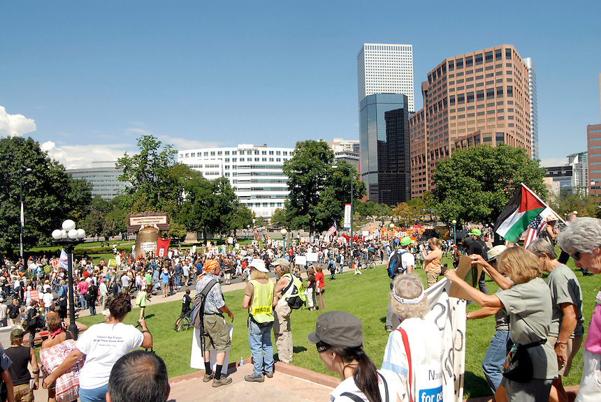 24 Aug 08: Protesters begin a march from the Colorado state capitol building to the Pepsi Center. On the day before the Democratic National Convention is scheduled to begin about 1,500 people participated in the ReCreate 68 rally, which included a march from the Colorado state capitol building to the Pepsi Center.