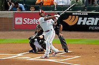Philadelphia Phillies shortstop Jimmy Rollins #11 swings during the Major League Baseball game against the Houston Astros at Minute Maid Park in Houston, Texas on September 13, 2011. Houston defeated Philadelphia 5-2.  (Andrew Woolley/Four Seam Images)