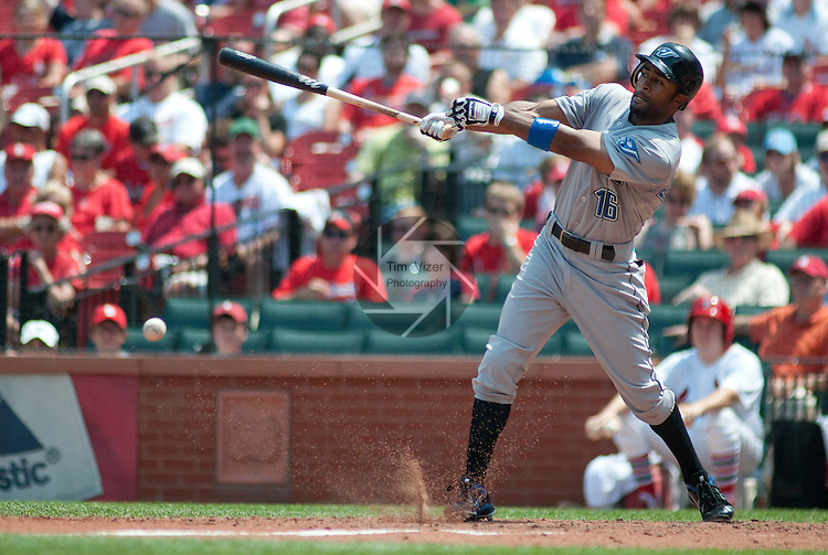 26 June 2011               Toronto Blue Jays left fielder Corey Patterson (16) at bat. The Toronto Blue Jays defeated the St. Louis Cardinals 5-0 in the final game of a three-game inter-league series on Sunday June 26, 2011 at Busch Stadium in downtown St. Louis.
