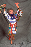 Dancing girl age 6 in Gypsy Halloween costume.  WesternSprings  Illinois USA