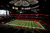January 8th 2018, Atlanta, GA, USA; An overiew of the playing field as it gets prepped for the National Championship game between the Georgia Bulldogs and the Alabama Crimson Tide at Mercedes-Benz Stadium on January 8, 2018, in Atlanta, GA.  (Photo by David J. Griffin/Icon Sportswire)