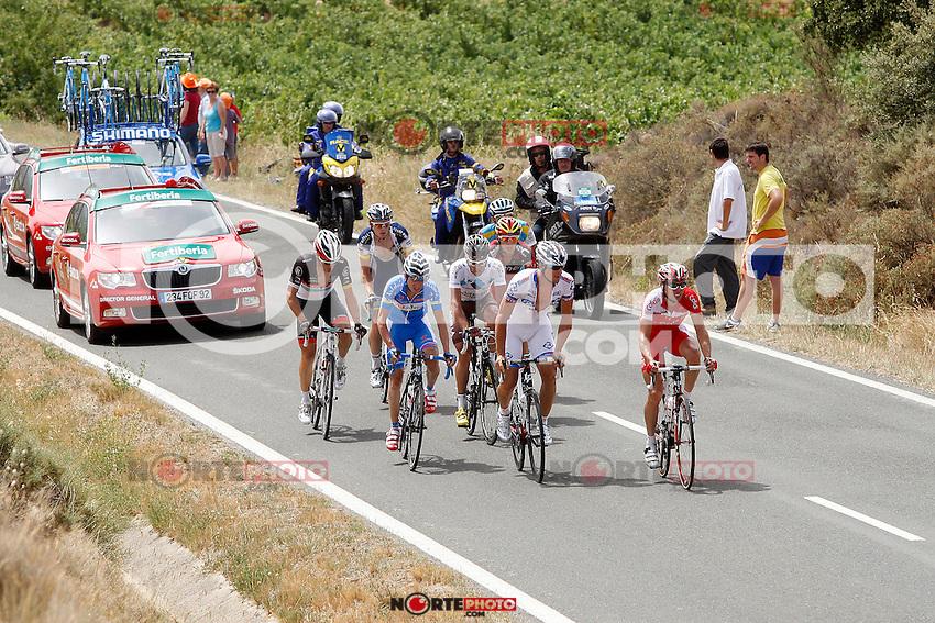 Sergio Carrasco (Andalucia), Dominique Rollin (FDJ-BigMat), Nico Sijmens (Cofidis), Philippe Gilbert (BMC), Markel Irizar (RadioShack), Andrey Zeits (Astana), Pim Ligthart (Vacansoleil) and Christophe Riblon (Ag2r) during the stage of La Vuelta 2012 between Faustino V and Eibar (Arrate).August 20,2012. (ALTERPHOTOS/Paola Otero) /NortePhoto.com<br /> <br /> **CREDITO*OBLIGATORIO** <br /> *No*Venta*A*Terceros*<br /> *No*Sale*So*third*<br /> *** No Se Permite Hacer Archivo**<br /> *No*Sale*So*third*