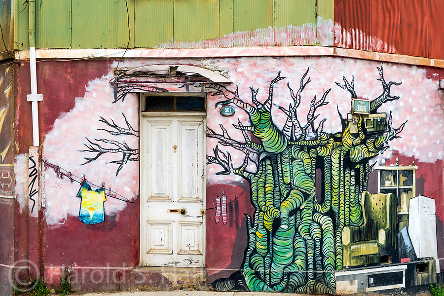 Graffiti in Valparaiso, Chile reaches heights not seen in many other cities.  Homeowners will pay several thousand dollars to have their house facade painted by well-known and talented graffiti artists.  The city will even provide scaffolding to the artists for free.