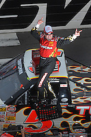 Mar 31, 2007; Martinsville, VA, USA; Nascar Craftsman Truck Series driver Mike Skinner (5) celebrates after winning the Kroger 250 at Martinsville Speedway. The win was the third ina  row for Skinner. Mandatory Credit: Mark J. Rebilas...