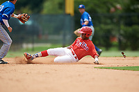 GCL Phillies East third baseman Edgar Made (24) slides into second base in front of Jordan Groshans (10) during a game against the GCL Blue Jays on August 10, 2018 at Carpenter Complex in Clearwater, Florida.  GCL Blue Jays defeated GCL Phillies East 8-3.  (Mike Janes/Four Seam Images)