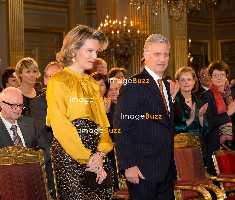 Le roi Philippe a pr&eacute;sente ses v&oelig;ux de nouvel an aux corps constitu&eacute;s (le monde politique, &eacute;conomique, acad&eacute;mique, juridique, etc.), en pr&eacute;sence de la reine Mathilde de Belgique, de la princesse Astrid, du prince Lorenz et du prince Laurent de Belgique, au Palais Royal de Bruxelles.<br /> Belgique, Bruxelles, 29/01/2014.<br /> PIC : King Philippe of Belgium, Queen Mathilde of Belgium<br /> <br /> King Philippe of Belgium, Queen Mathilde of Belgium,   Princess Astrid of Belgium, Prince Lorenz of Belgium, Prince Laurent of Belgium at a New Year's reception organized by the Belgian Royal Family for the prominent Authorities and Personalities, at the Royal Palace, in Brussels,  Belgium, January 29,  2014.