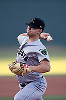 Starting pitcher Blake Rivera (17) of the Augusta GreenJackets delivers a pitch in a game against the Greenville Drive on Wednesday, April 10, 2019, at Fluor Field at the West End in Greenville, South Carolina. Augusta won, 9-8. (Tom Priddy/Four Seam Images)