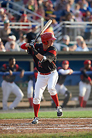 Batavia Muckdogs shortstop Micah Brown (55) at bat during a game against the Tri-City ValleyCats on July 14, 2017 at Dwyer Stadium in Batavia, New York.  Batavia defeated Tri-City 8-4.  (Mike Janes/Four Seam Images)