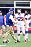 Sunday, October 2, 2016: Buffalo Bills head coach Rex Ryan shakes hands with long snapper Garrison Sanborn (65) before the NFL game between the Buffalo Bills and the New England Patriots held at Gillette Stadium in Foxborough Massachusetts. Buffalo defeats New England 16-0. Eric Canha/Cal Sport Media