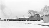 D&amp;RGW gondolas being switched in Gunnison yards.<br /> D&amp;RGW  Gunnison, CO  Taken by Richardson, Robert W. - 2/28/1950